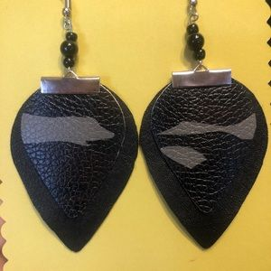 Layered leather earrings with beaded accents